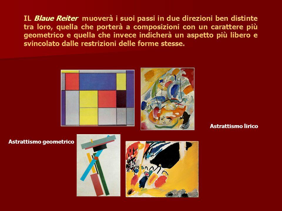 IL Blaue Reiter muoverà i suoi passi in due direzioni ben distinte tra loro, quella che porterà a composizioni con un carattere più geometrico e quell
