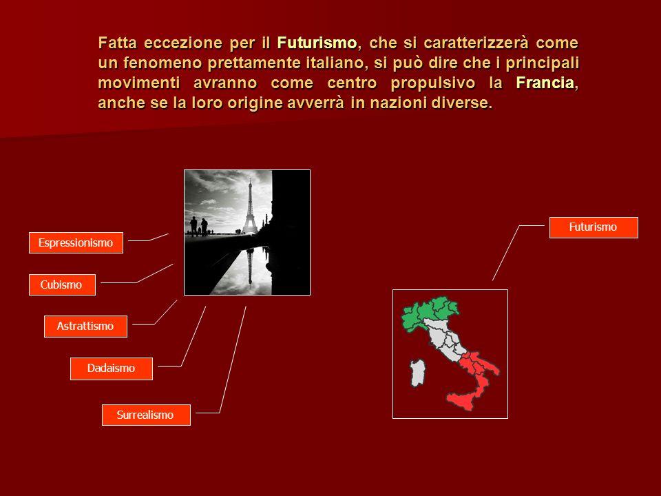Fatta eccezione per il Futurismo, che si caratterizzerà come un fenomeno prettamente italiano, si può dire che i principali movimenti avranno come cen