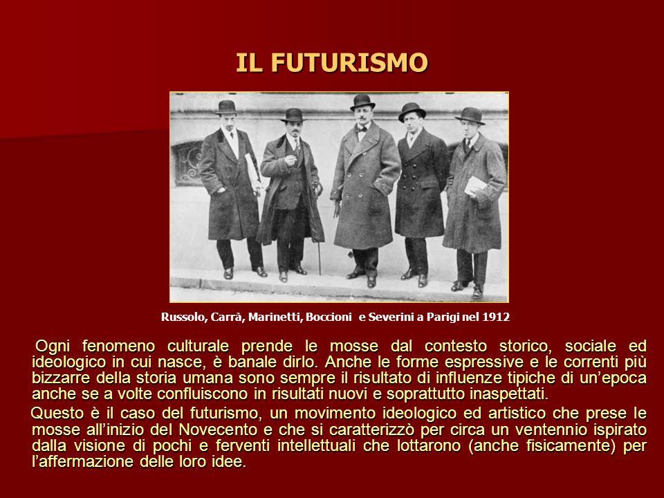 IL FUTURISMO Ogni fenomeno culturale prende le mosse dal contesto storico, sociale ed ideologico in cui nasce, è banale dirlo. Anche le forme espressi
