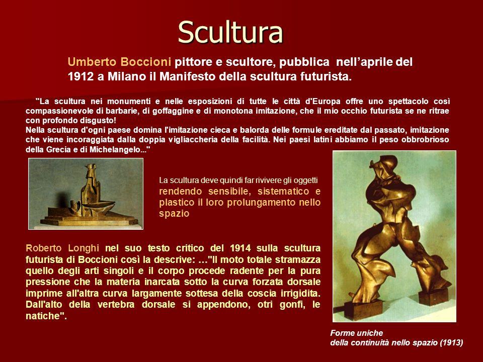 Scultura Roberto Longhi nel suo testo critico del 1914 sulla scultura futurista di Boccioni così la descrive: …