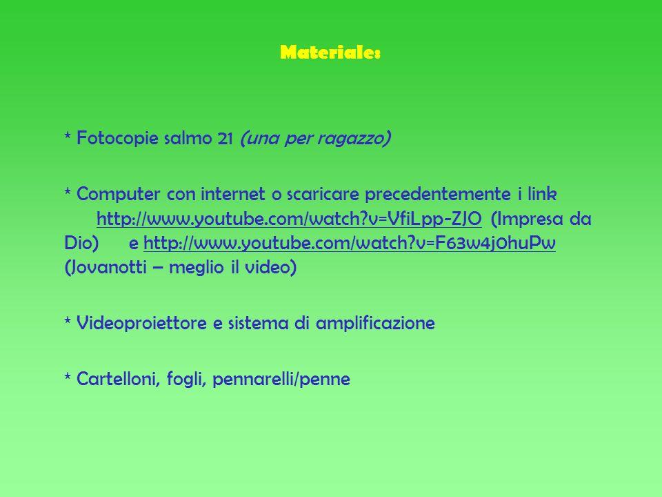 Materiale: * Fotocopie salmo 21 (una per ragazzo) * Computer con internet o scaricare precedentemente i link http://www.youtube.com/watch v=VfiLpp-ZJO (Impresa da Dio) e http://www.youtube.com/watch v=F63w4j0huPw (Jovanotti – meglio il video) * Videoproiettore e sistema di amplificazione * Cartelloni, fogli, pennarelli/penne