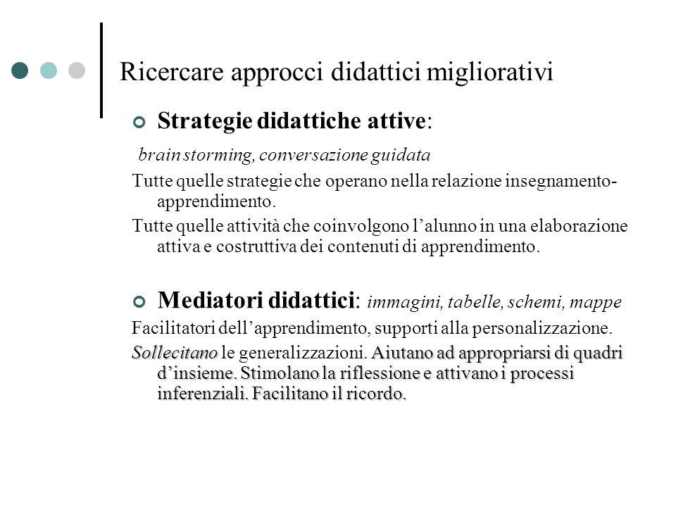 Ricercare approcci didattici migliorativi Strategie didattiche attive: brain storming, conversazione guidata Tutte quelle strategie che operano nella