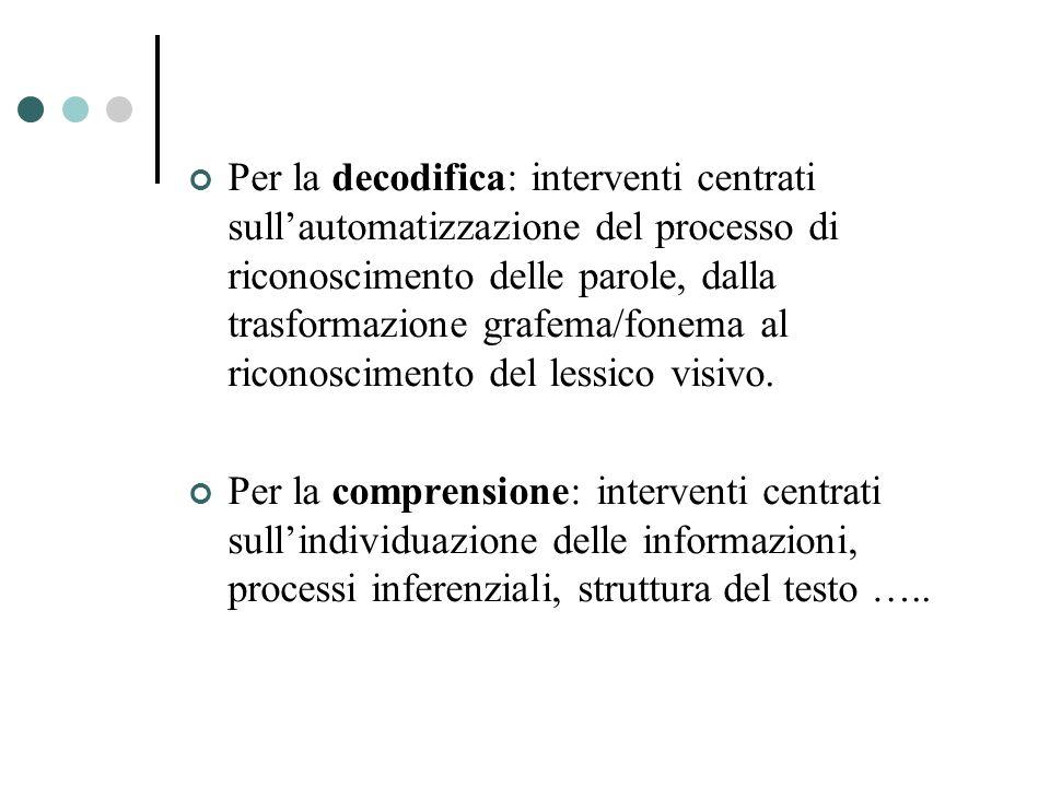 Per la decodifica: interventi centrati sullautomatizzazione del processo di riconoscimento delle parole, dalla trasformazione grafema/fonema al ricono