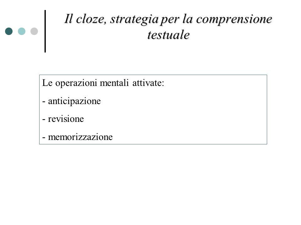 Le operazioni mentali attivate: - anticipazione - revisione - memorizzazione Il cloze, strategia per la comprensione testuale