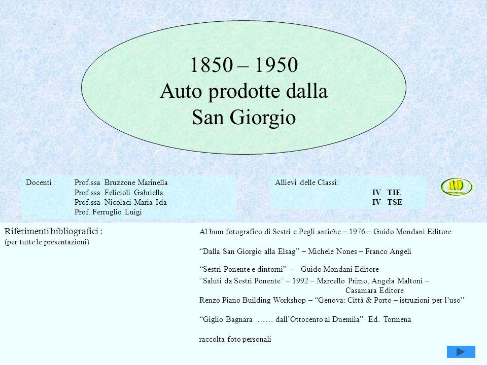 Genova e Attilio Odero1 1 1850 – 1950 Auto prodotte dalla San Giorgio Docenti : Prof.ssa Bruzzone Marinella Prof.ssa Felicioli Gabriella Prof.ssa Nico