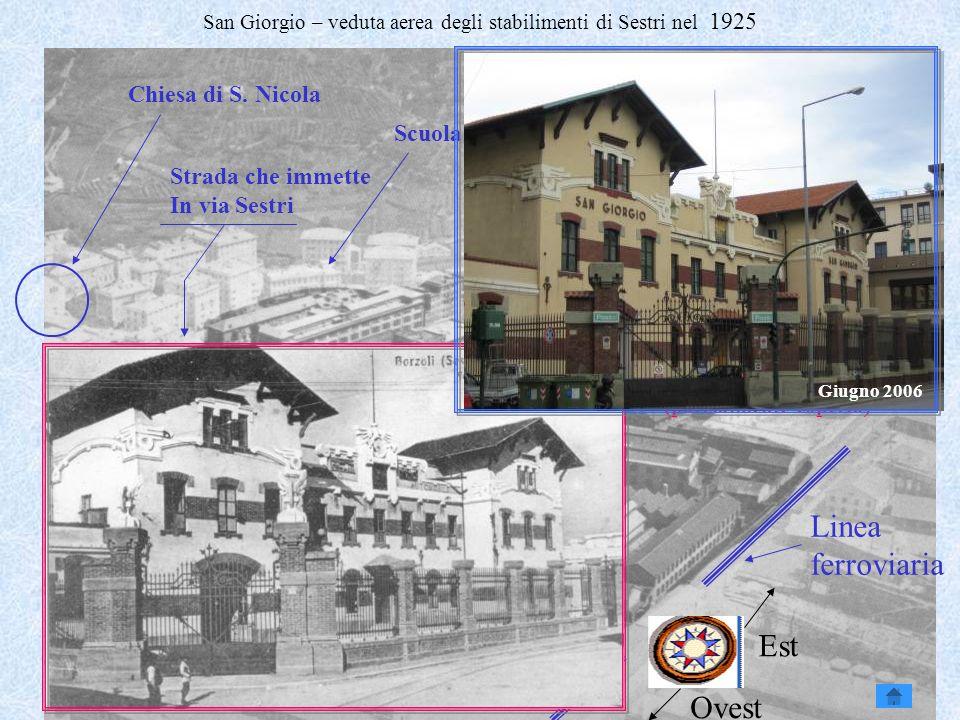 Genova e Attilio Odero8 San Giorgio – veduta aerea degli stabilimenti di Sestri nel 1925 Chiesa di S. Nicola Linea ferroviaria Scuola elementare Zona