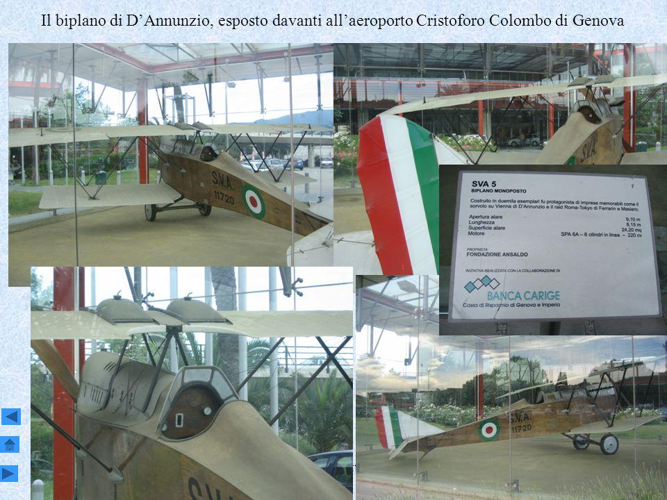 Genova, Sestri e Attilio Odero5 Il biplano di DAnnunzio, esposto davanti allaeroporto Cristoforo Colombo di Genova
