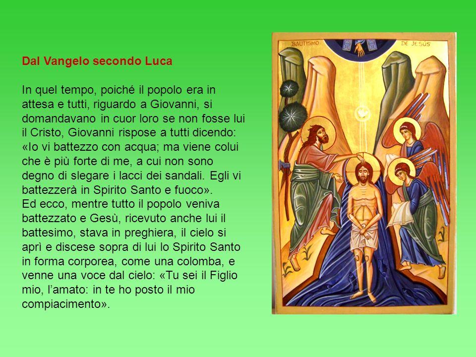 Dal Vangelo secondo Luca In quel tempo, poiché il popolo era in attesa e tutti, riguardo a Giovanni, si domandavano in cuor loro se non fosse lui il C