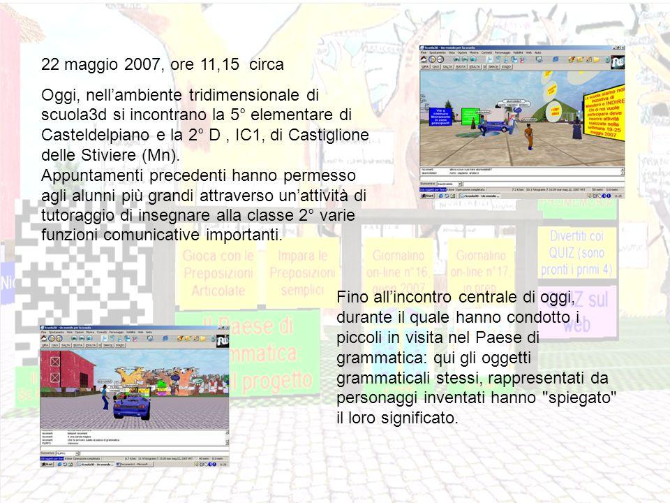 22 maggio 2007, ore 11,15 circa Oggi, nellambiente tridimensionale di scuola3d si incontrano la 5° elementare di Casteldelpiano e la 2° D, IC1, di Castiglione delle Stiviere (Mn).