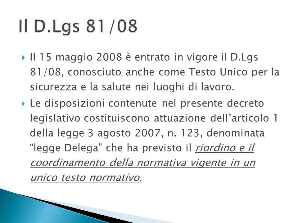 Il 15 maggio 2008 è entrato in vigore il D.Lgs 81/08, conosciuto anche come Testo Unico per la sicurezza e la salute nei luoghi di lavoro. Le disposiz