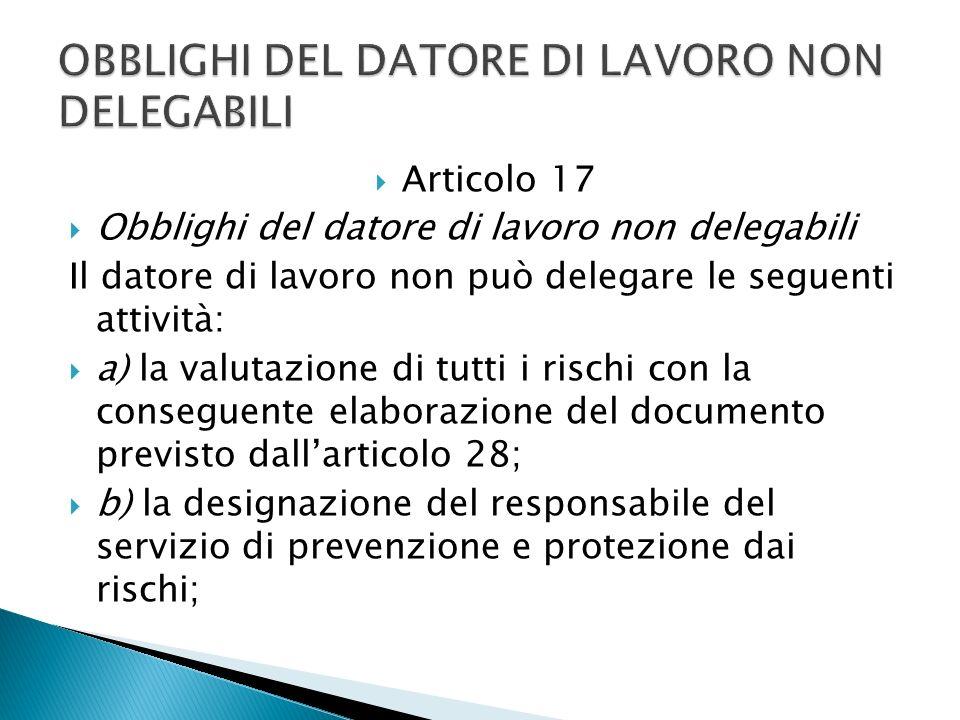 Articolo 17 Obblighi del datore di lavoro non delegabili Il datore di lavoro non può delegare le seguenti attività: a) la valutazione di tutti i risch