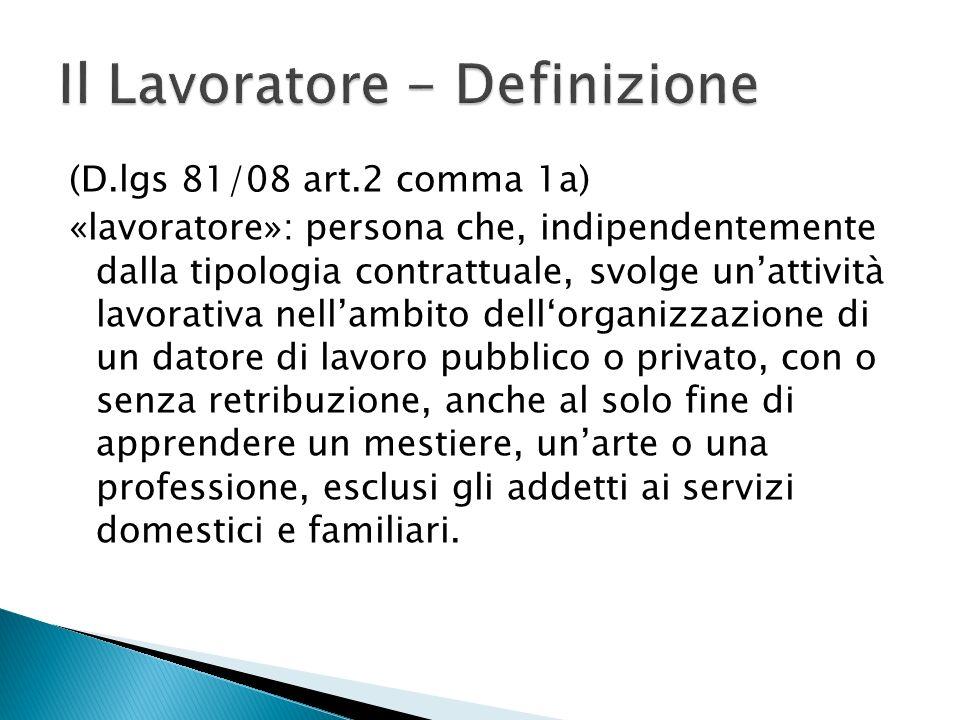 (D.lgs 81/08 art.2 comma 1a) «lavoratore»: persona che, indipendentemente dalla tipologia contrattuale, svolge unattività lavorativa nellambito dellor