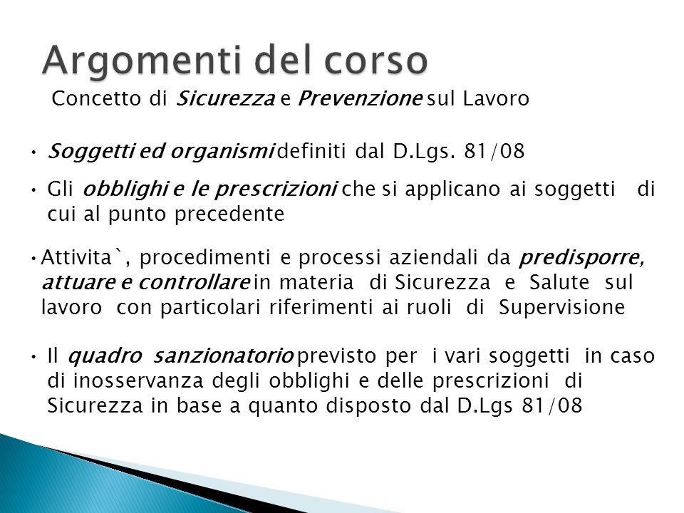Concetto di Sicurezza e Prevenzione sul Lavoro Soggetti ed organismi definiti dal D.Lgs. 81/08 Gli obblighi e le prescrizioni che si applicano ai sogg