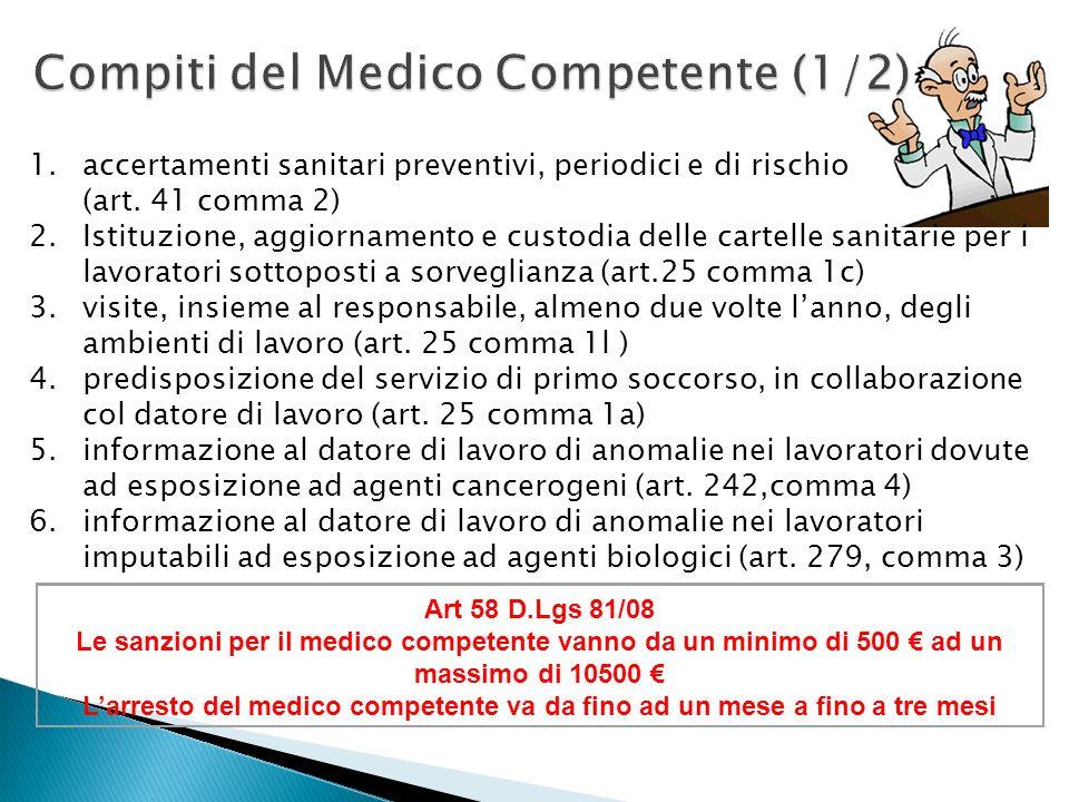 1.accertamenti sanitari preventivi, periodici e di rischio (art. 41 comma 2) 2.Istituzione, aggiornamento e custodia delle cartelle sanitarie per i la