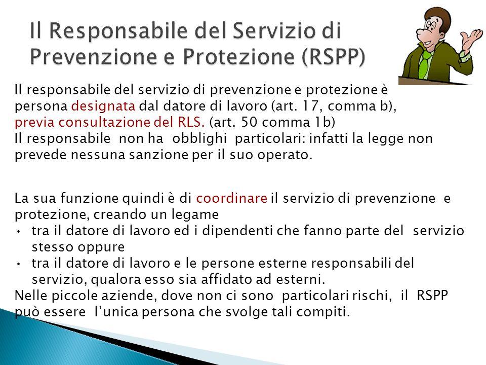 Il responsabile del servizio di prevenzione e protezione è persona designata dal datore di lavoro (art. 17, comma b), previa consultazione del RLS. (a
