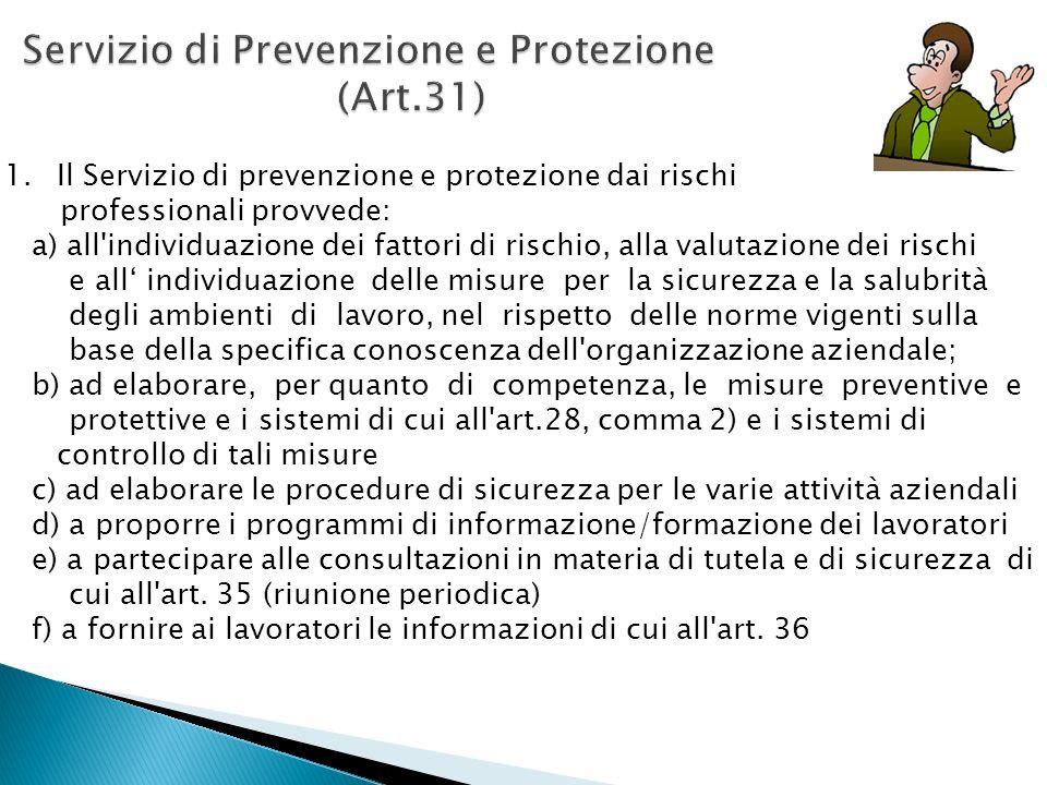 1.Il Servizio di prevenzione e protezione dai rischi professionali provvede: a) all'individuazione dei fattori di rischio, alla valutazione dei rischi