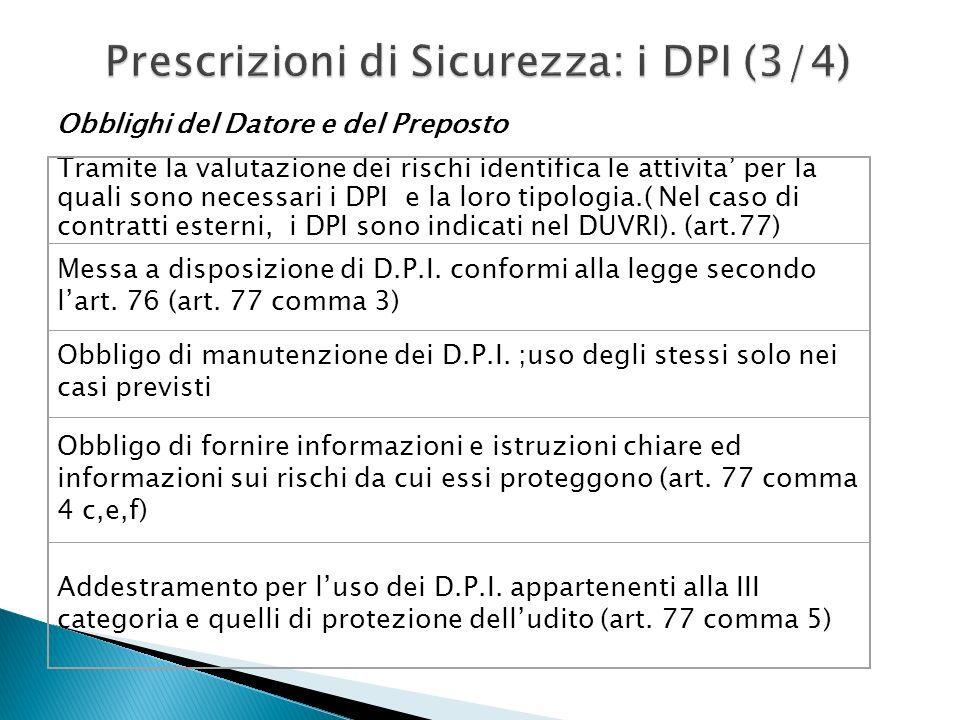 Prescrizioni di Sicurezza: i DPI (3/4) Tramite la valutazione dei rischi identifica le attivita per la quali sono necessari i DPI e la loro tipologia.( Nel caso di contratti esterni, i DPI sono indicati nel DUVRI).