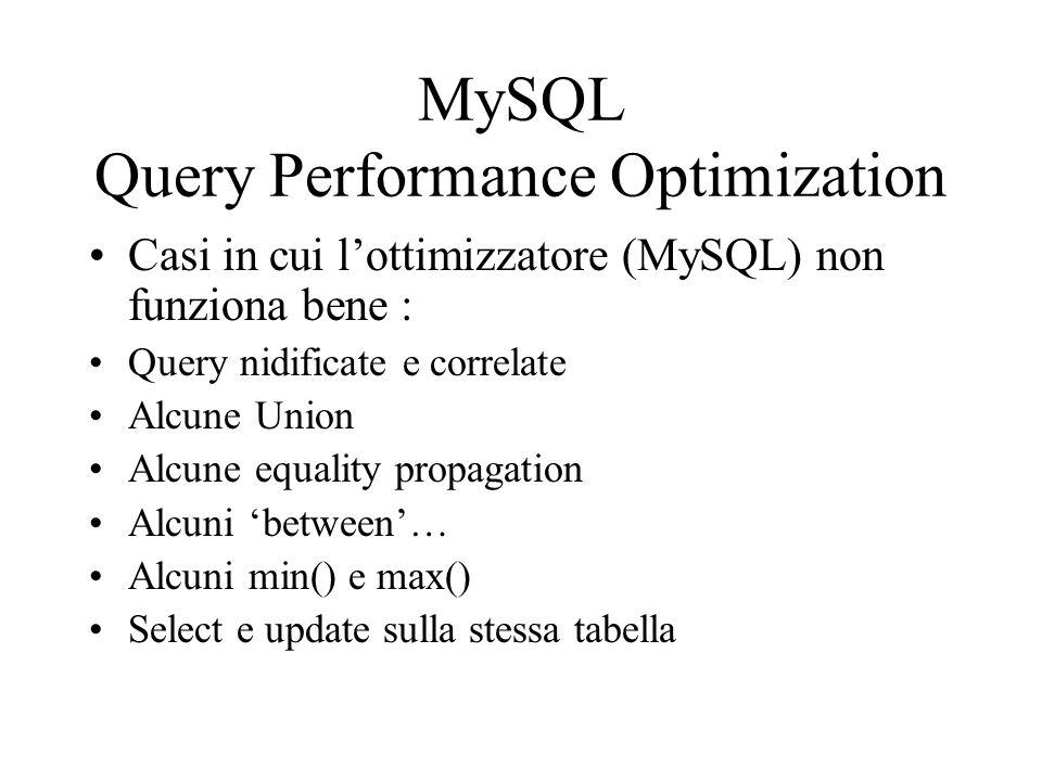 MySQL Query Performance Optimization Casi in cui lottimizzatore (MySQL) non funziona bene : Query nidificate e correlate Alcune Union Alcune equality