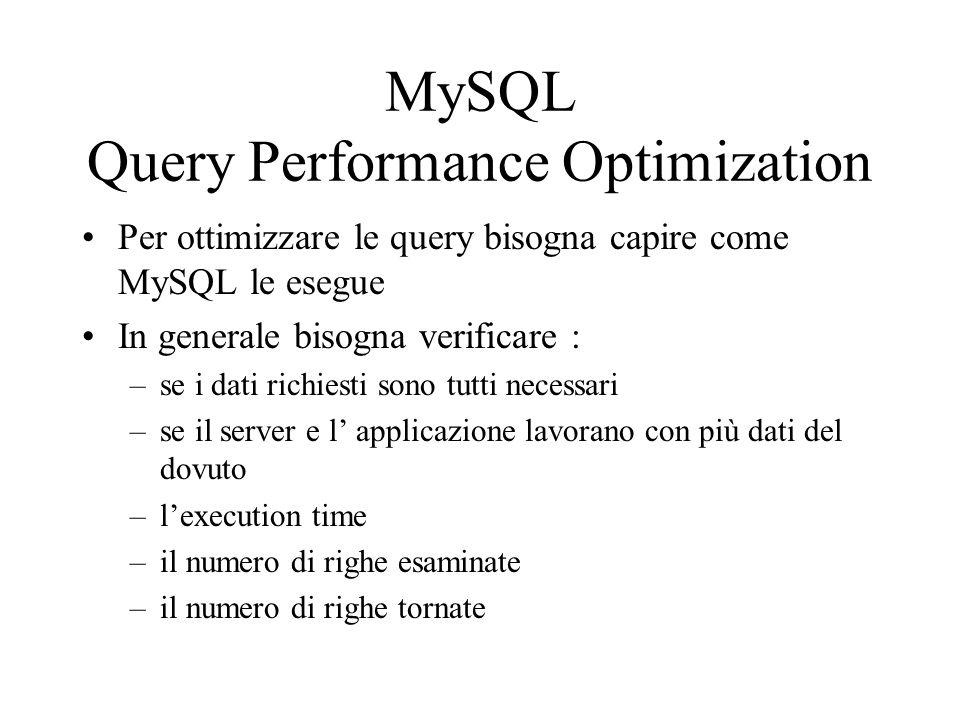 Per ottimizzare le query bisogna capire come MySQL le esegue In generale bisogna verificare : –se i dati richiesti sono tutti necessari –se il server
