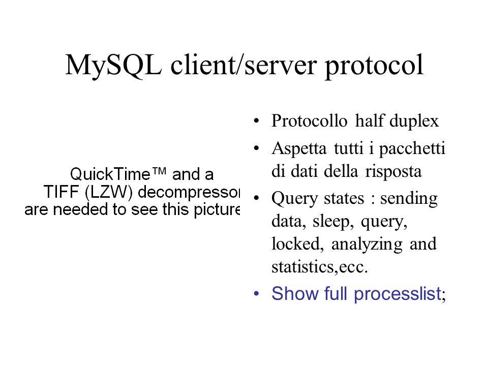 MySQL client/server protocol Protocollo half duplex Aspetta tutti i pacchetti di dati della risposta Query states : sending data, sleep, query, locked