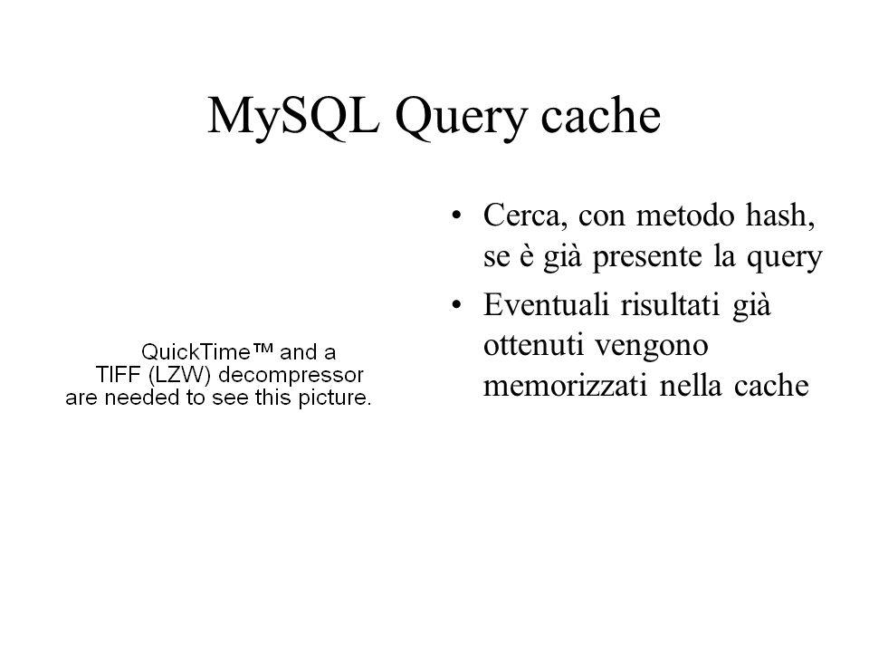 MySQL Parser e Preprocessor Verifica dei privilegi Il parser spezza la query in token e costruisce il parse tree Usa la grammatica SQL per interpretare la query Il preprocessor effettua controlli semantici non risolti dal parser
