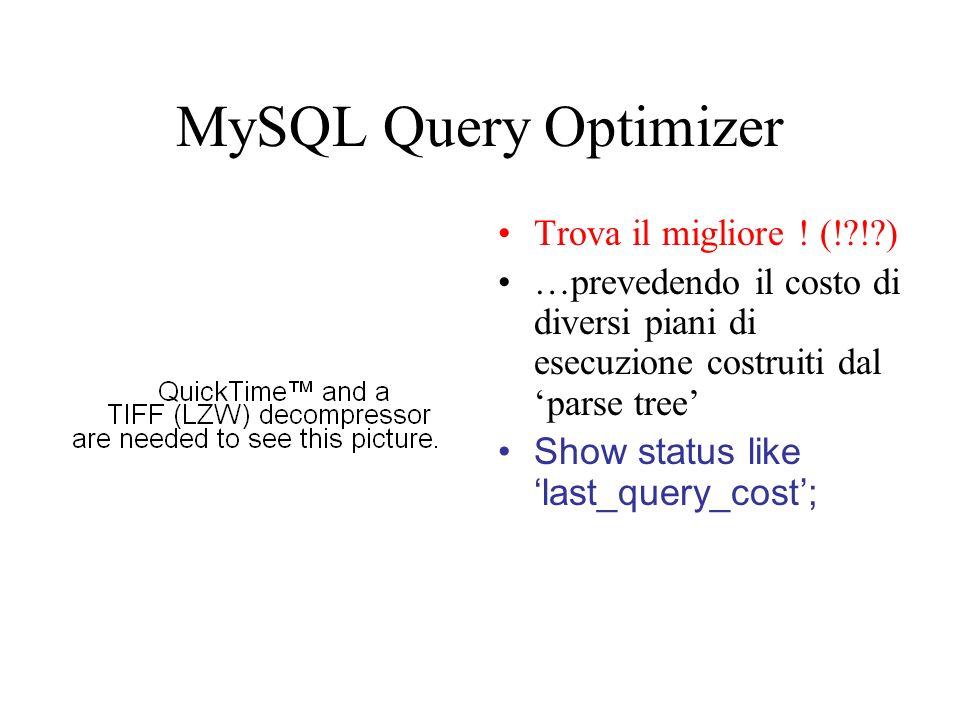 MySQL Query Optimizer (2) Ragioni di malfunzionamento : –Statistiche sbagliate; –Unità di costo errata; –Non considerare la concorrenza di altre query; –Piani di escuzione non considerati.