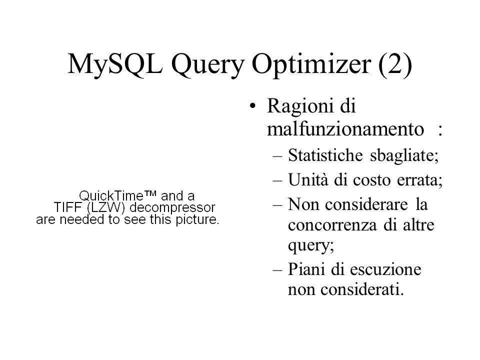 MySQL Query Optimizer (2) Ragioni di malfunzionamento : –Statistiche sbagliate; –Unità di costo errata; –Non considerare la concorrenza di altre query