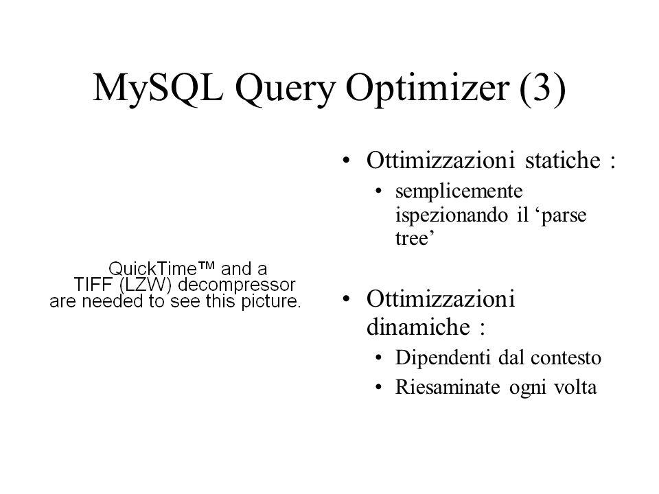MySQL Query Optimizer (4) Compiti : –riordina i join; –converte outer join; –applica regole di equivalenza dell algebra; –crea e usa indici Btree; –crea e usa covering index; –converte subquery; –valuta e riduce espressioni; –riconosce uguaglianze colonne.