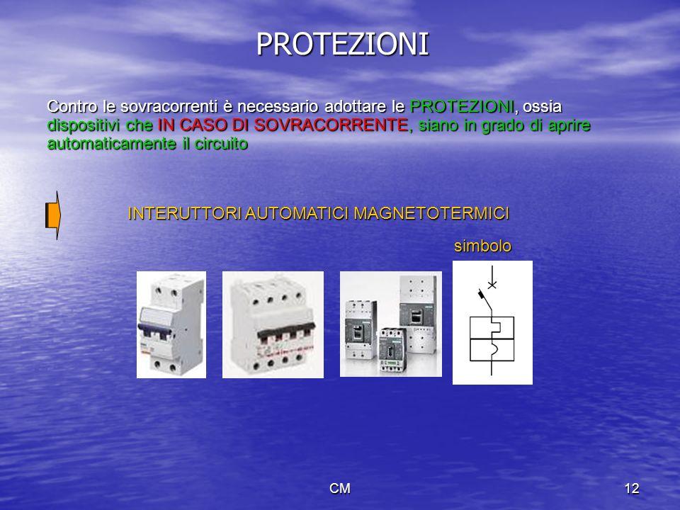 CM12 PROTEZIONI Contro le sovracorrenti è necessario adottare le PROTEZIONI, ossia dispositivi che IN CASO DI SOVRACORRENTE, siano in grado di aprire