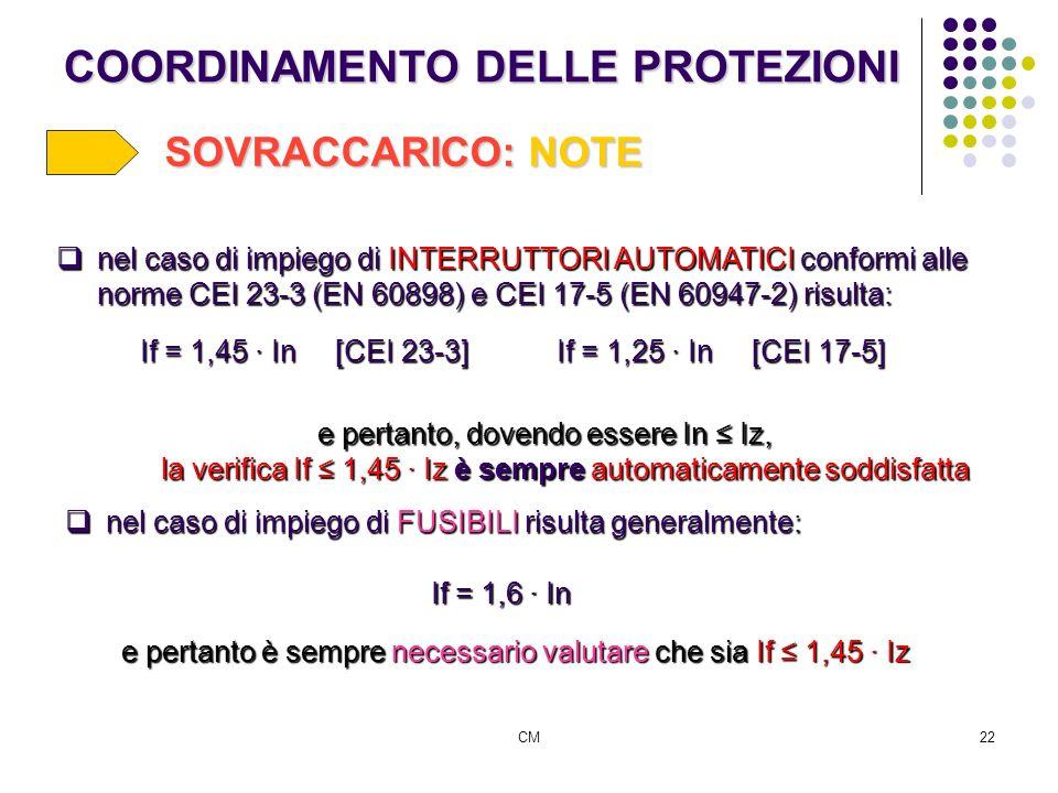CM22 COORDINAMENTO DELLE PROTEZIONI SOVRACCARICO: NOTE nel caso di impiego di INTERRUTTORI AUTOMATICI conformi alle norme CEI 23-3 (EN 60898) e CEI 17