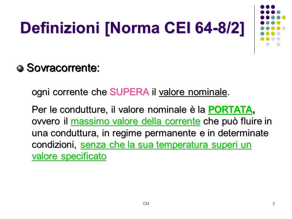 CM3 Definizioni [Norma CEI 64-8/2] Sovracorrente: ogni corrente che SUPERA il valore nominale. Per le condutture, il valore nominale è la PORTATA, ovv