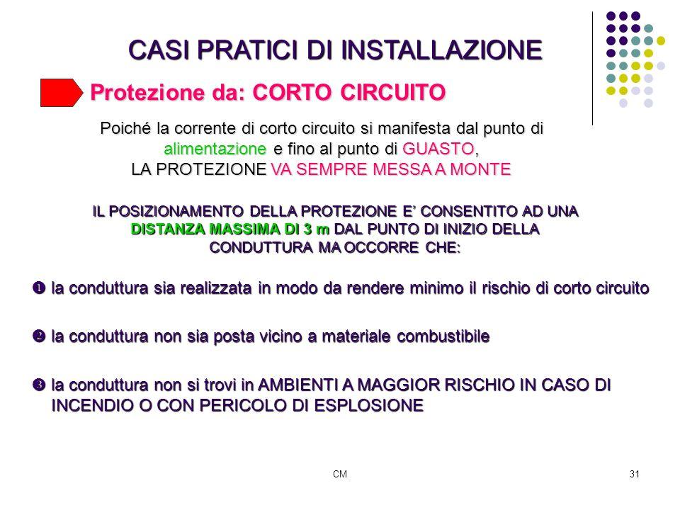 CM31 CASI PRATICI DI INSTALLAZIONE Protezione da: CORTO CIRCUITO la conduttura sia realizzata in modo da rendere minimo il rischio di corto circuito l
