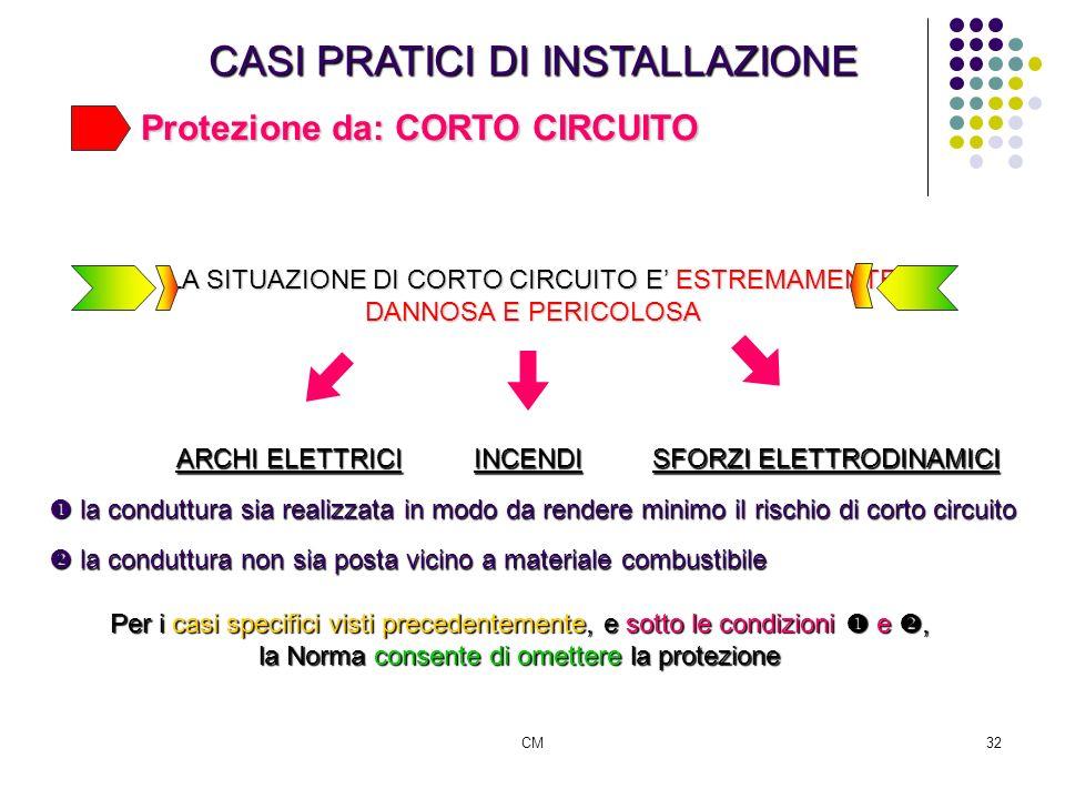 CM32 CASI PRATICI DI INSTALLAZIONE Protezione da: CORTO CIRCUITO LA SITUAZIONE DI CORTO CIRCUITO E ESTREMAMENTE DANNOSA E PERICOLOSA ARCHI ELETTRICI I