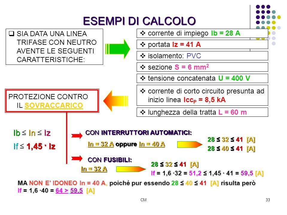 CM33 ESEMPI DI CALCOLO SIA DATA UNA LINEA TRIFASE CON NEUTRO AVENTE LE SEGUENTI CARATTERISTICHE: corrente di impiego Ib = 28 A portata Iz = 41 A isola