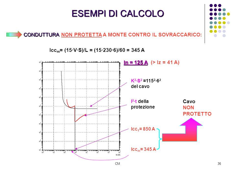 CM36 ESEMPI DI CALCOLO CONDUTTURA CONDUTTURA NON PROTETTA A MONTE CONTRO IL SOVRACCARICO: K 2 S 2 =115 2 6 2 del cavo I 2 t della protezione Icc 1 = 8