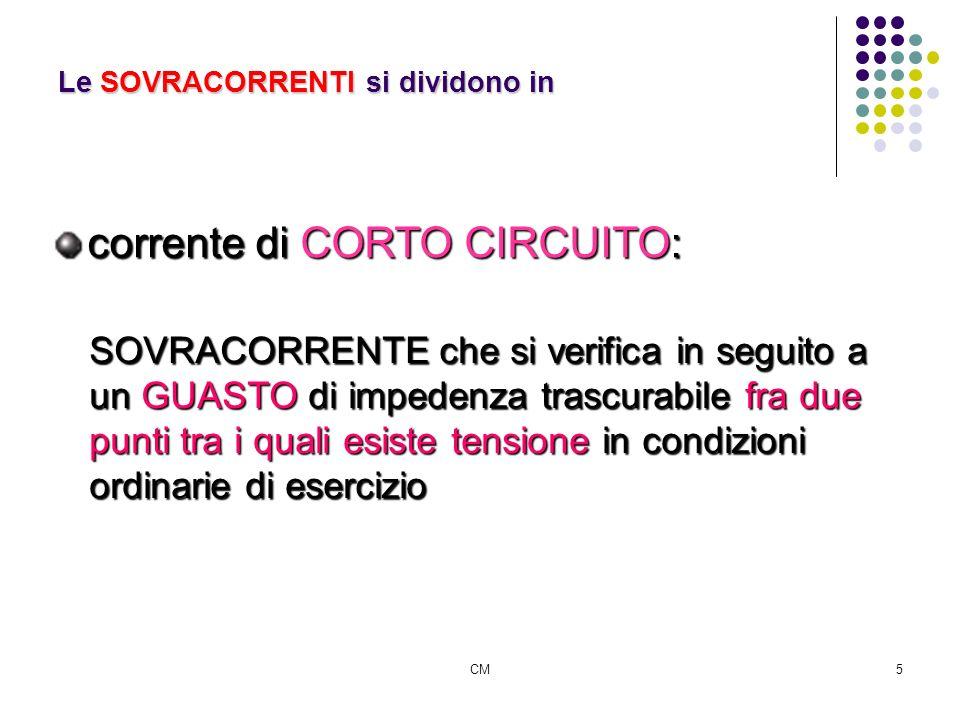 CM5 Le SOVRACORRENTI si dividono in corrente di CORTO CIRCUITO: SOVRACORRENTE che si verifica in seguito a un GUASTO di impedenza trascurabile fra due