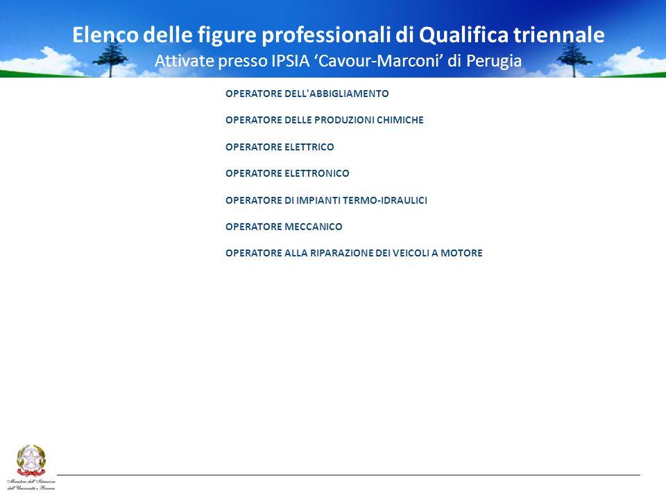 Elenco delle figure professionali di Qualifica triennale Attivate presso IPSIA Cavour-Marconi di Perugia OPERATORE DELL ABBIGLIAMENTO OPERATORE DELLE PRODUZIONI CHIMICHE OPERATORE ELETTRICO OPERATORE ELETTRONICO OPERATORE DI IMPIANTI TERMO-IDRAULICI OPERATORE MECCANICO OPERATORE ALLA RIPARAZIONE DEI VEICOLI A MOTORE