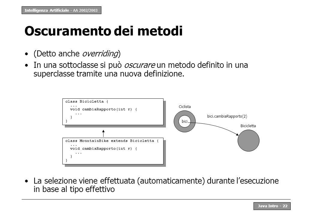 Intelligenza Artificiale - AA 2002/2003 Java Intro - 23 Specializzazione dei metodi (Detta anche overloading) La risposta di un oggetto ad un messaggio può dipendere dal tipo dei parametri class Zoofilo extends Persona {...