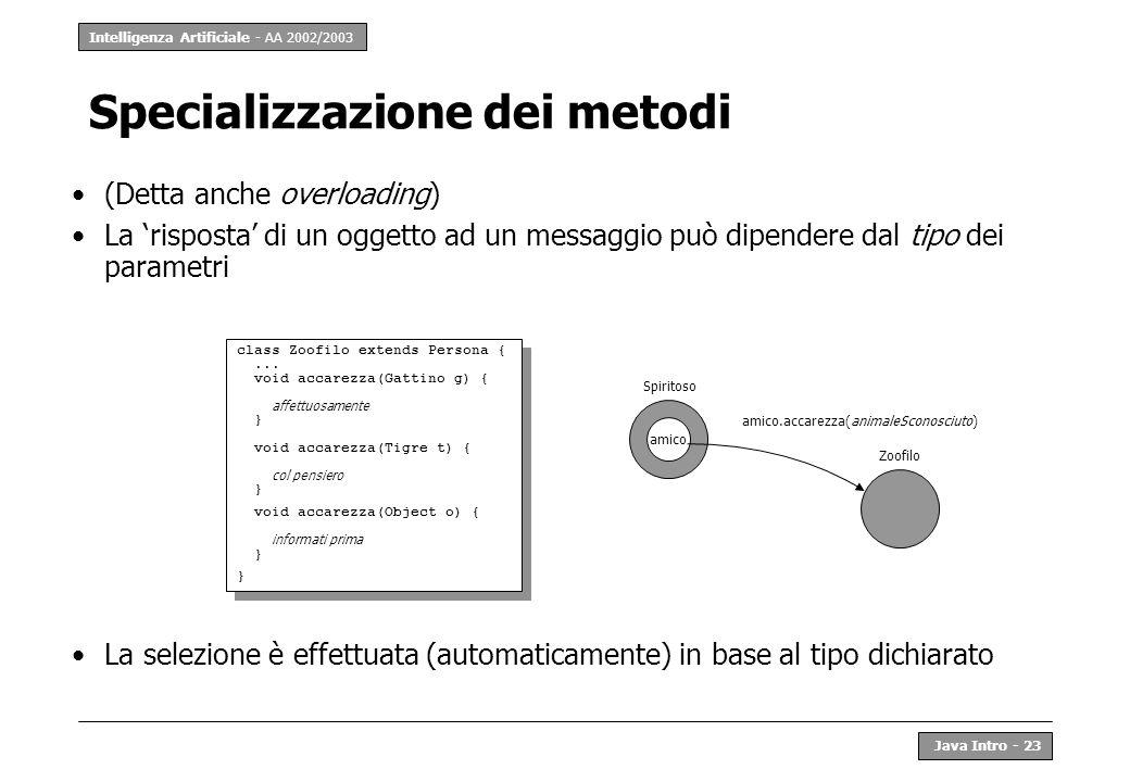 Intelligenza Artificiale - AA 2002/2003 Java Intro - 24 Classi come oggetti In Java anche le classi sono oggetti Quindi anche le classi: –rispondono ai messaggi; –hanno variabili (di classe); –hanno metodi (di classe).