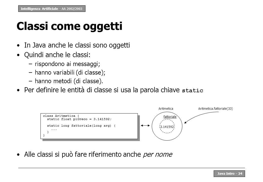 Intelligenza Artificiale - AA 2002/2003 Java Intro - 25 Nota: per chi conosce il C++ In C++ si usa la parola chiave static con lo stesso significato Ma in C++, le classi non sono oggetti ma solo dichiarazioni a beneficio del compilatore Conseguenza notevole: in Java si può determinare a run-time la classe di un oggetto, in C++ no.