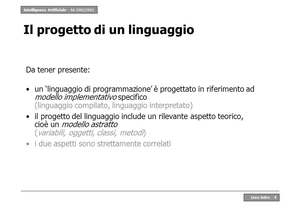 Intelligenza Artificiale - AA 2002/2003 Java Intro - 5 Il progetto di un linguaggio (2) Scelta di un modello astratto: –entità di base della programmazione (e.g.