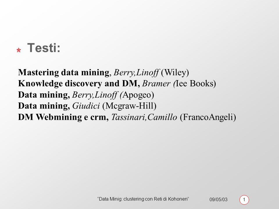09/05/03 1 Data Minig: clustering con Reti di Kohonen Testi: Mastering data mining, Berry,Linoff (Wiley) Knowledge discovery and DM, Bramer (Iee Books) Data mining, Berry,Linoff (Apogeo) Data mining, Giudici (Mcgraw-Hill) DM Webmining e crm, Tassinari,Camillo (FrancoAngeli)
