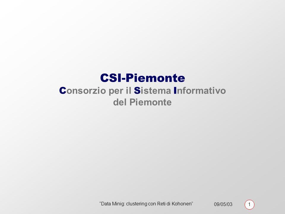 09/05/03 1 Data Minig: clustering con Reti di Kohonen CSI-Piemonte C onsorzio per il S istema I nformativo del Piemonte