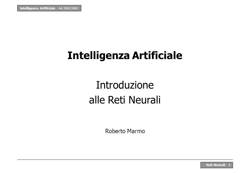 Intelligenza Artificiale - AA 2001/2002 Reti Neurali - 32 Overfitting La rete neurale deve avere capacità di comprensione del modello statistico dei dati, non memorizzare i soli dati del training set.