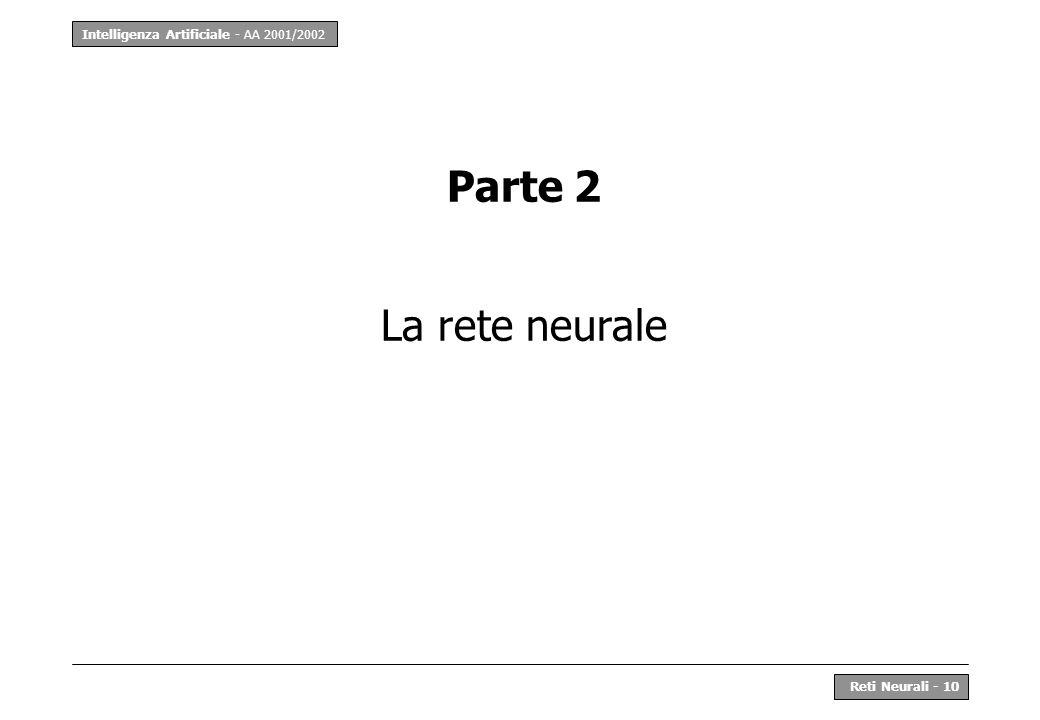 Intelligenza Artificiale - AA 2001/2002 Reti Neurali - 10 Parte 2 La rete neurale