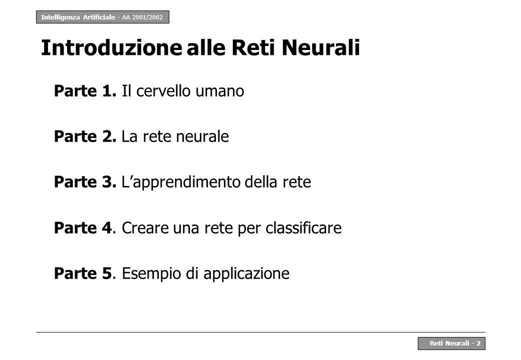 Intelligenza Artificiale - AA 2001/2002 Reti Neurali - 2 Introduzione alle Reti Neurali Parte 1. Il cervello umano Parte 2. La rete neurale Parte 3. L