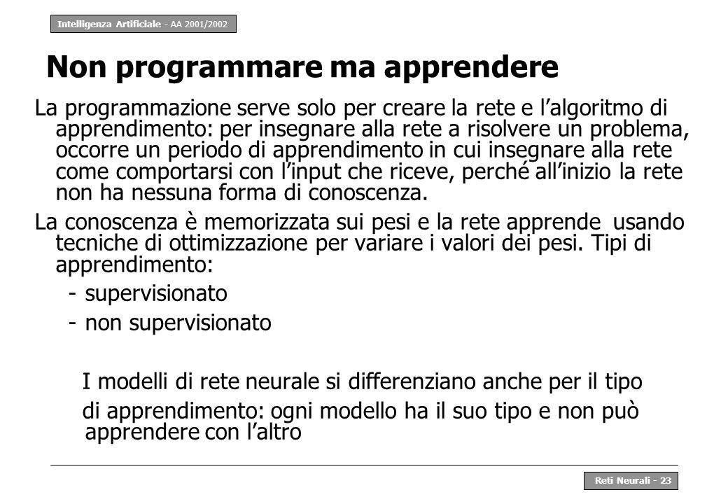 Intelligenza Artificiale - AA 2001/2002 Reti Neurali - 23 Non programmare ma apprendere La programmazione serve solo per creare la rete e lalgoritmo d
