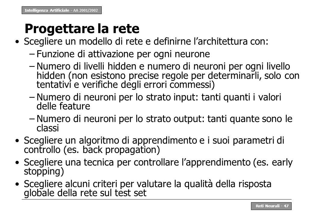 Intelligenza Artificiale - AA 2001/2002 Reti Neurali - 47 Progettare la rete Scegliere un modello di rete e definirne larchitettura con: –Funzione di