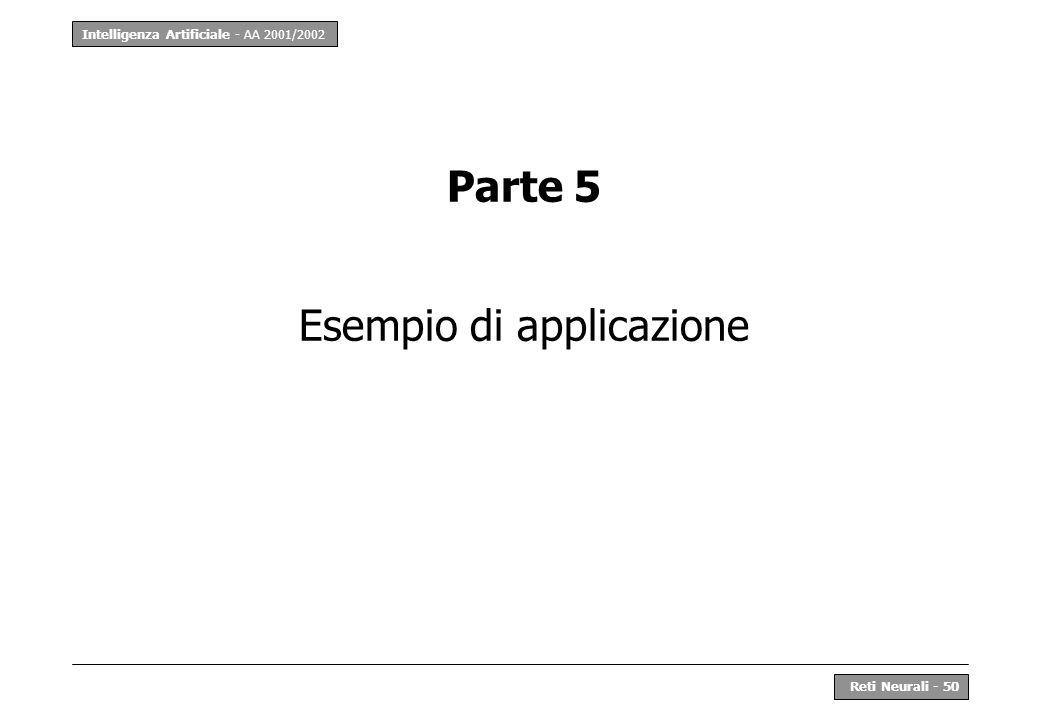 Intelligenza Artificiale - AA 2001/2002 Reti Neurali - 50 Parte 5 Esempio di applicazione