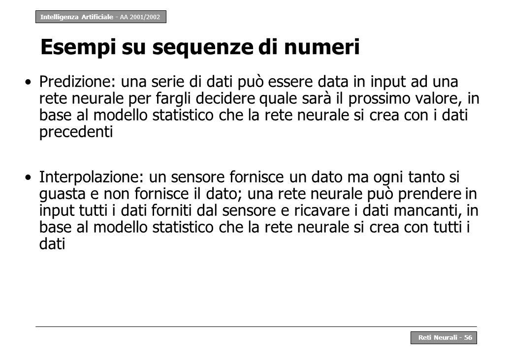 Intelligenza Artificiale - AA 2001/2002 Reti Neurali - 56 Esempi su sequenze di numeri Predizione: una serie di dati può essere data in input ad una r